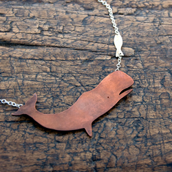 Whale & fish copper & silver necklace