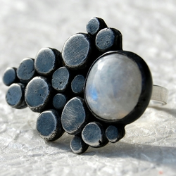 Pebble sterling silver & moonstone ring