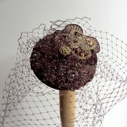 Handmade Chocolate brown veil fascinator.