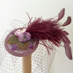 Handmade Lilac vintage flowers feather fascinator, weddings, veil.