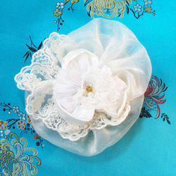 ON SALE Ivory Organza and Lace Corsage