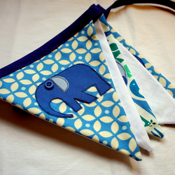 Personalised blue elephant handmade bunting. Designed for you.
