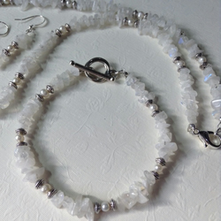 Rainbow Moonstone & Freshwater Pearl set - FREE UK 1st class post