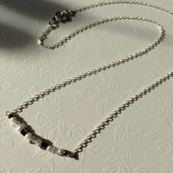 Freshwater pearl, hematite and crystal bar necklace - FREE UK 1st class postage