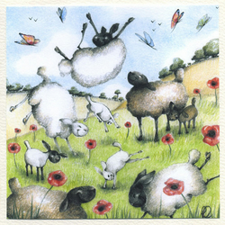 Spring Sheep and Silly Lambs Handmade Card
