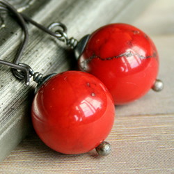 Coquelicot earrings - Red Turquoise and Sterling Silver