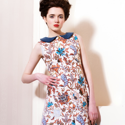 Vintage style floral dress with peter pan collar
