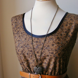 Jennifer Lilly Vintage Inspired Handmade Brown Floral Cotton Dress XS or SMALL