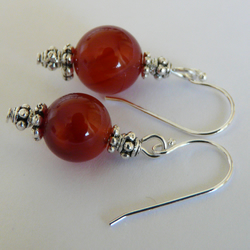 SALE - Sterling Silver Red Agate Earrings