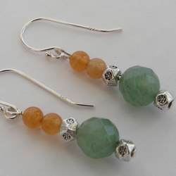 Sterling Silver Aventurine Earrings