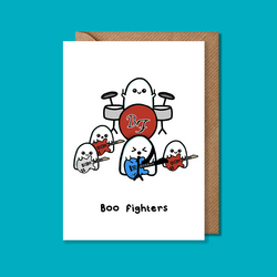 Boo Fighters card, Foo Fighters card, funny halloween card, ghost card