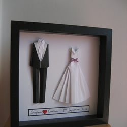 Bride And Groom Origami Outfit Wedding Or Paper Anniversary Gift Original