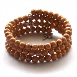 Bronze Brown Pearl Bangle Bracelet