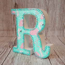 Letter R, Flamingo, freestanding initials, tropical flamingos