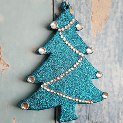 Christmas Tree decoration in turquoise glitter, with silver rhinestones