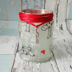 COW with hearts upcycled jar Candle Holder. Recycled, Light. Vase, Brush holder