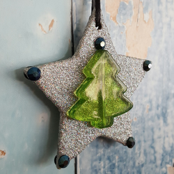 Star Christmas Tree Decoration, holographic silver glitter
