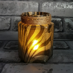 Zebra Stripe Jar Light, upcycled, Vase, Brush or pen holder