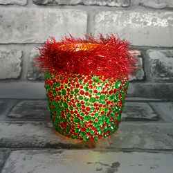 Red and Green Christmas Rhinestone Jar with tinsel rim. Recycled, upcycled vase
