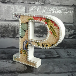 Letter P, with Butterflies, freestanding initials, with glitter and pearls