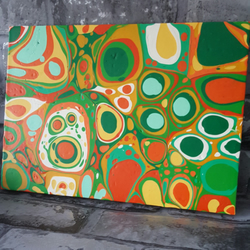 Abstract Painting, Drips, Green, Orange and Yellow Acrylic Art