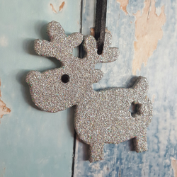 Reindeer Christmas Tree decoration, silver glitter