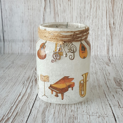 Music Instrument Candle Holder. Recycled Glass Jar Light. Vase, Pen holder