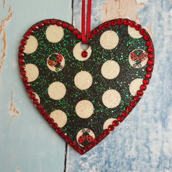 Polka Dot and Ladybird hanging Heart decoration, country cottage chic