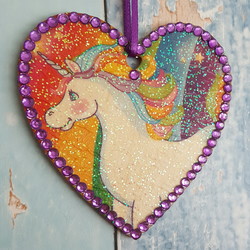 Unicorn hanging Heart decoration, country cottage chic, rainbow