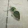 Labradorite and Paua Shell Necklace, Sterling Silver with Bezel Set Gemstones