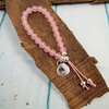 Rose Quartz Bracelet, Recycled Silver Heart Charm. Adjustable Fit Small-Medium