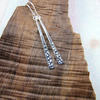 Earrings, Patterned Sterling Silver Dropper, Snow Flakes