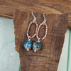 Earrings, Sterling Silver and Copper Long Dropper with Blue Jasper Gemstones