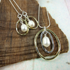 Necklace and Earring Set, Sterling Silver, Brass and White Pearls