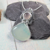 Rose Quartz and Blue Agate Necklace, Sterling Silver with Bezel Set Gemstones
