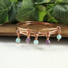Bangle, Copper with Mint Green Agate and Amethyst Wrapped BoHo Bracelet