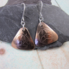 Triquetra Earrings, Sterling Silver and Copper Triangle Celtic Design Earrings