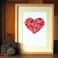 Button Heart in Red - A4 Giclée Print