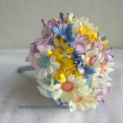 Wedding Bridal Flower and Button Bouquet with Buttonhole Spring Colours