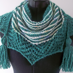 Knitted Handspun Green and Speckle Striped Crescent Shawl