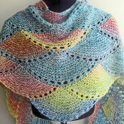 Knitted  Handspun Pastel Rainbow Scallop Shawl, Wrap, Scarf
