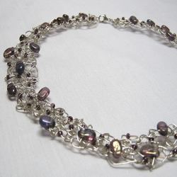 Silver Knitted Necklace - Large