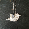 Paisley bird silver necklace