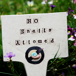 Ceramic Garden Ornament Sign Snail Deterrent Handmade Pottery Decoration