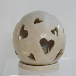 Ceramic Spherical Luminary in White with Hearts Home Decoration Ornament