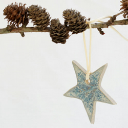 Ceramic Star hanging Christmas Decoration