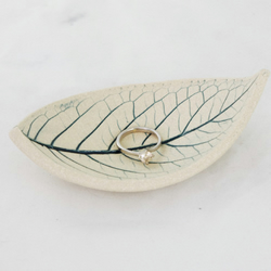 Wedding Ring Dish Handmade Ceramic Leaf Bowl Decorative Candle Dish in Teal Blue