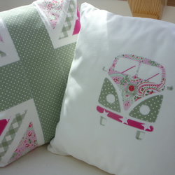 Campervan Cushion Pink & Green