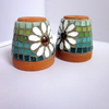 Pair of Mosaic Daisy Pot Cane Toppers