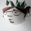 Lennon-stoneware ceramic hanging planter for succulents or air plants